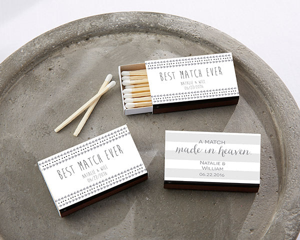 Personalized Black Wedding Matchboxes - Wedding (Set of 50)