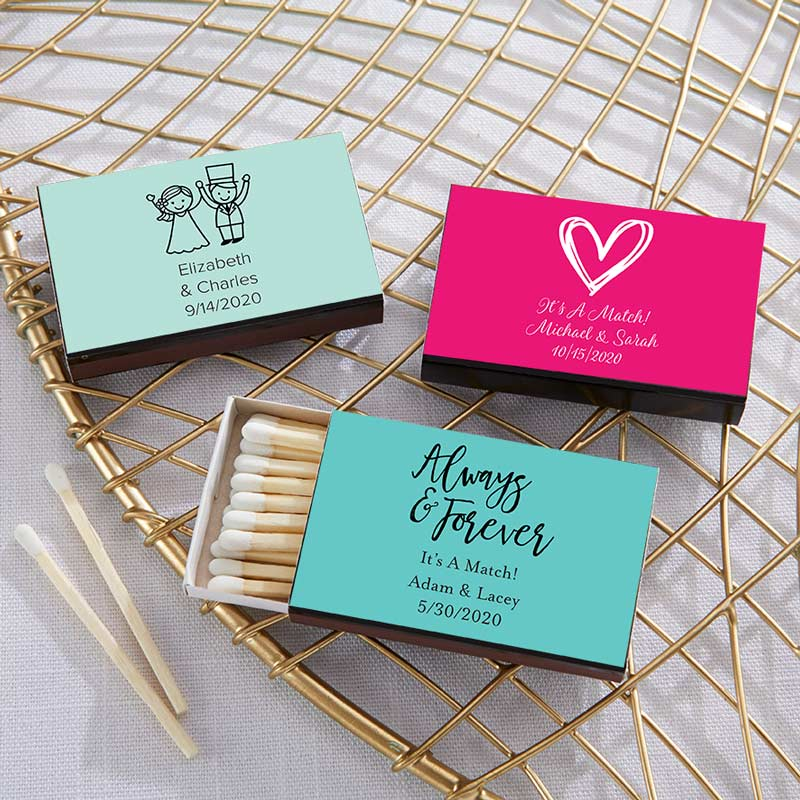 Load image into Gallery viewer, Personalized Wedding Black Matchboxes (Set of 50)