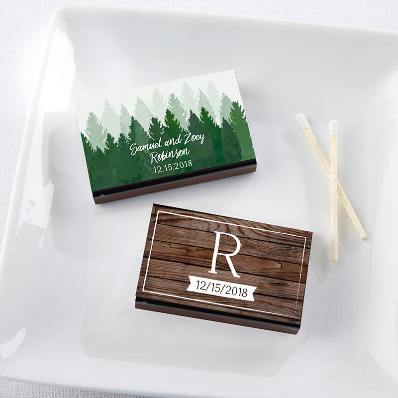 Personalized Winter Black Matchboxes (Set of 50)
