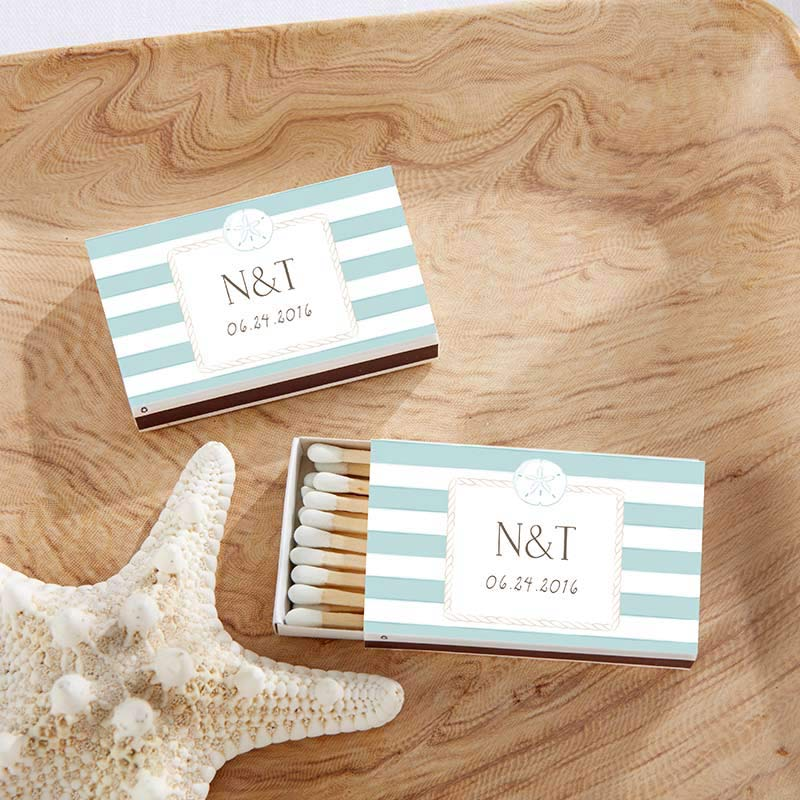 Personalized White Wedding Matchboxes - Beach (Set of 50)