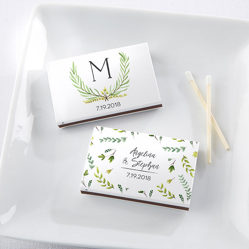 Personalized Botanical Garden White Matchboxes (Set of 50)