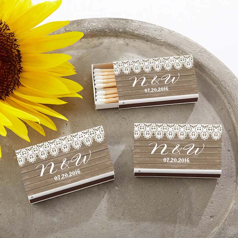 Personalized White Wedding Matchboxes - Country (Set of 50)
