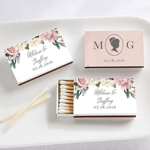 Personalized English Garden White Matchboxes (Set of 50)