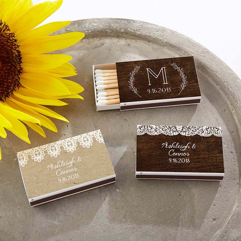 Personalized Rustic Charm Wedding White Matchboxes (Set of 50)