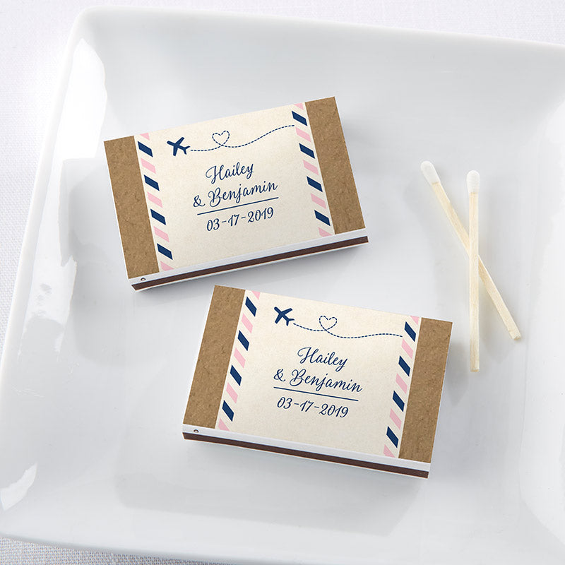 Personalized Travel & Adventure White Matchboxes (Set of 50)