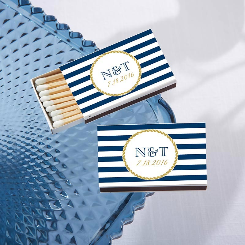Personalized Nautical White Matchboxes (Set of 50)