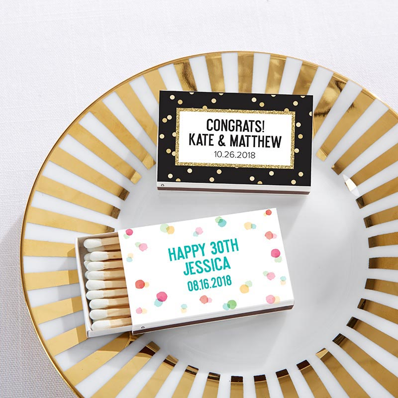 Personalized Party Time White Matchboxes (Set of 50)