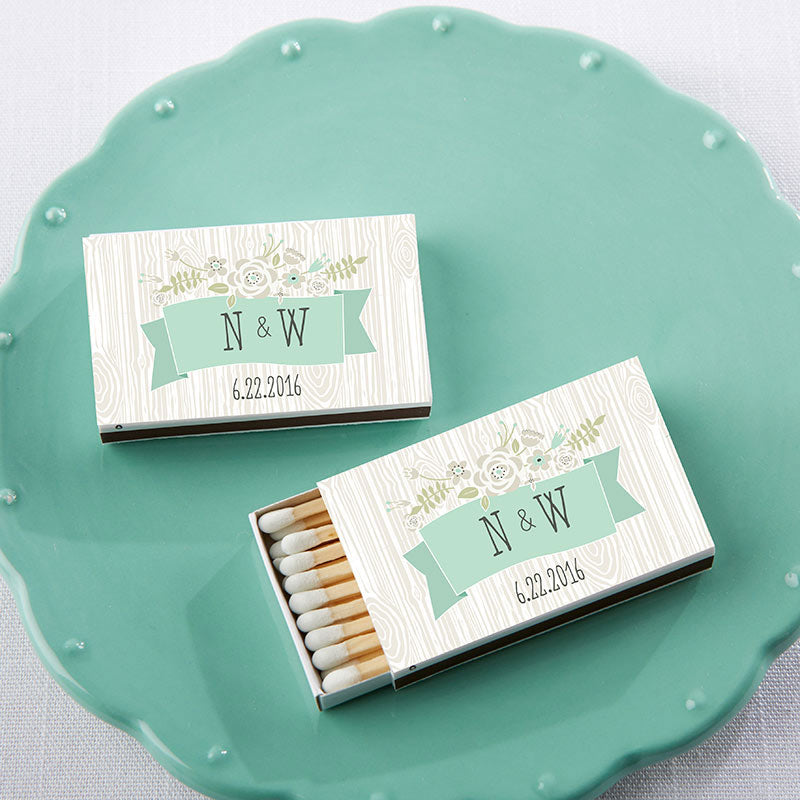 Personalized White Wedding Matchboxes - Rustic (Set of 50)
