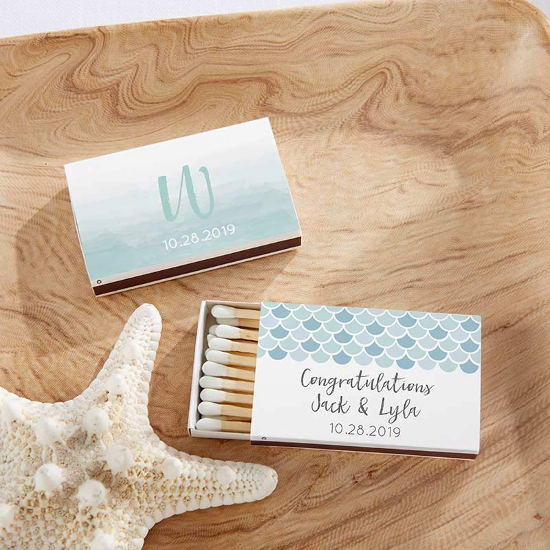 Personalized Seaside Escape White Matchboxes (Set of 50)