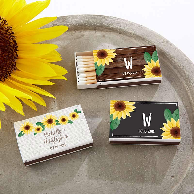 Personalized Sunflower White Matchboxes (Set of 50)