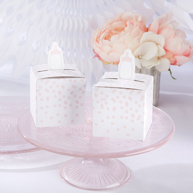 Classic Pink Baby Bottle Favor Box (Set of 24)