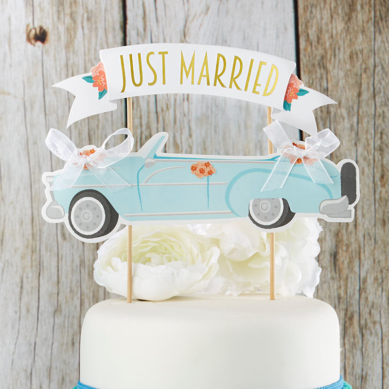 Load image into Gallery viewer, Just Married Vintage Car Cake Topper