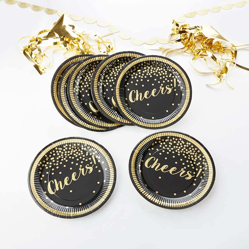 Party Time Gold Foil Cheers 9 in. Paper Plates (Set of 8)