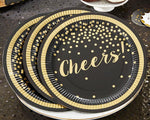 Party Time Gold Foil Cheers 9 in. Premium Paper Plates (Set of 8)