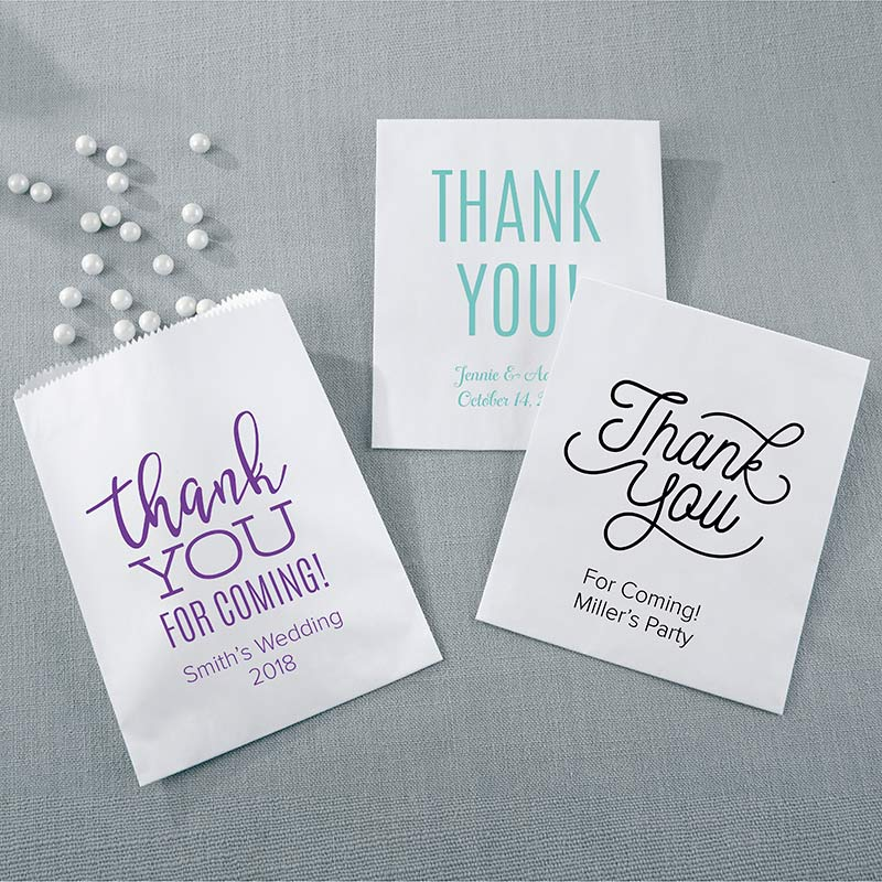 Personalized Thank You White Goodie Bag (Set of 12)
