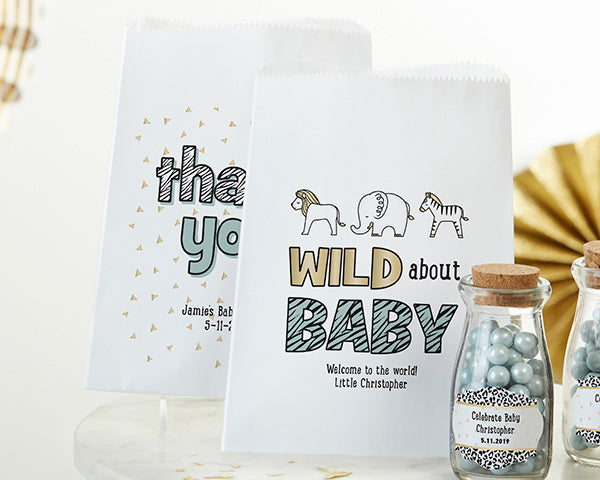 Personalized Safari White Goodie Bag (Set of 12)