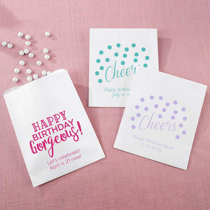 Personalized Birthday For Her White Goodie Bag (Set of 12)