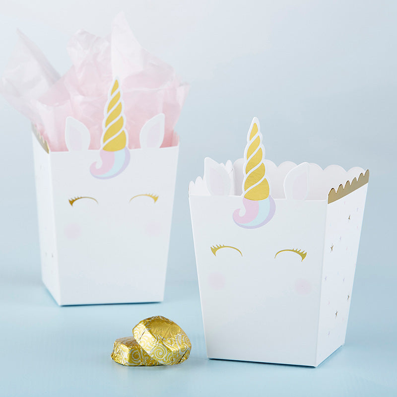 Load image into Gallery viewer, Unicorn Popcorn Favor Box (Set of 12)