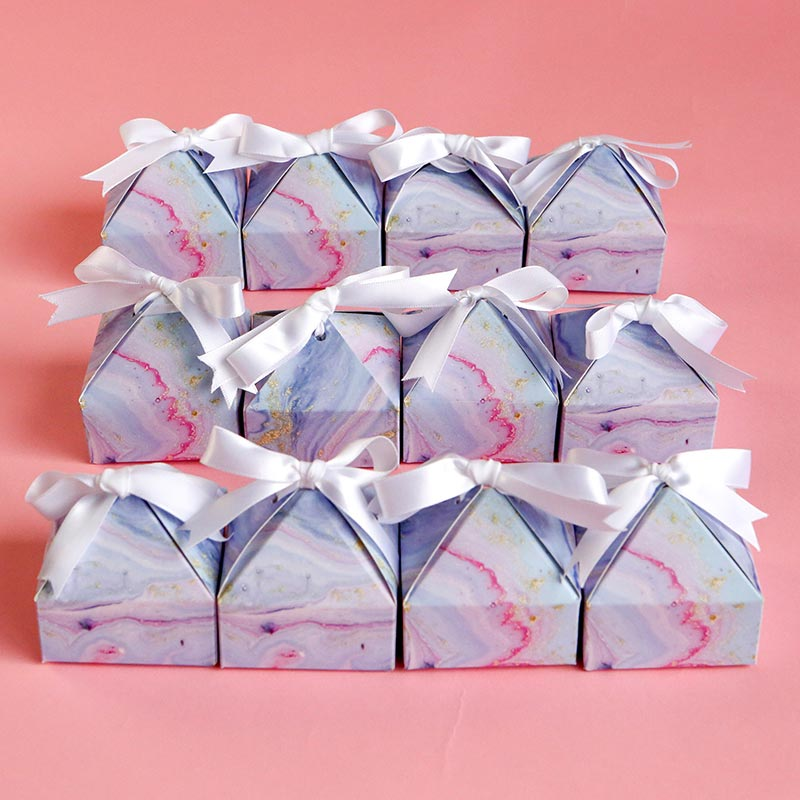 Marbleized Pyramid Favor Box (Set of 12)