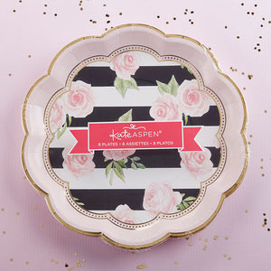 Floral Striped 9 in. Premium Paper Plates (Set of 8)