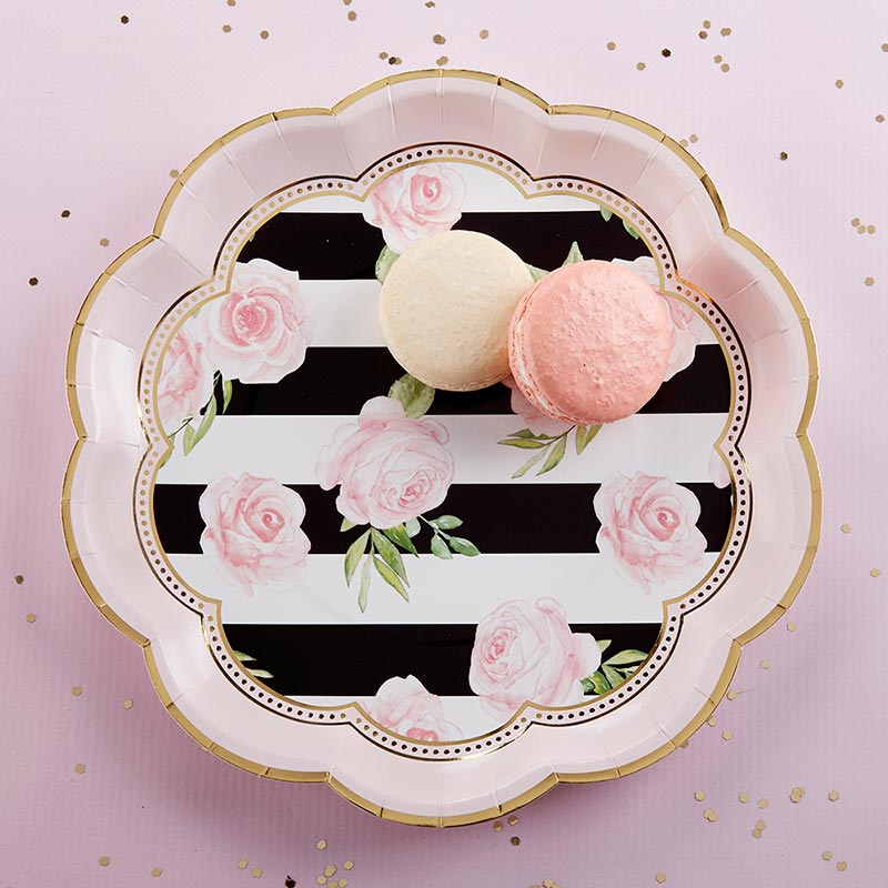 Floral Striped 9 in. Paper Plates (Set of 8)