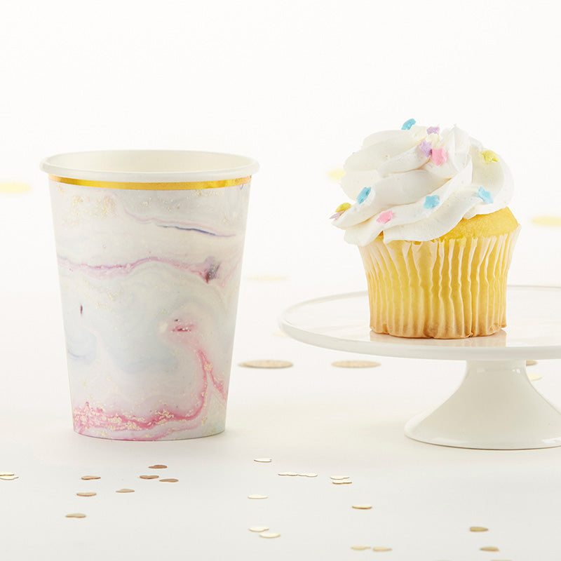 Marbleized 8 oz. Paper Cups (Set of 8)