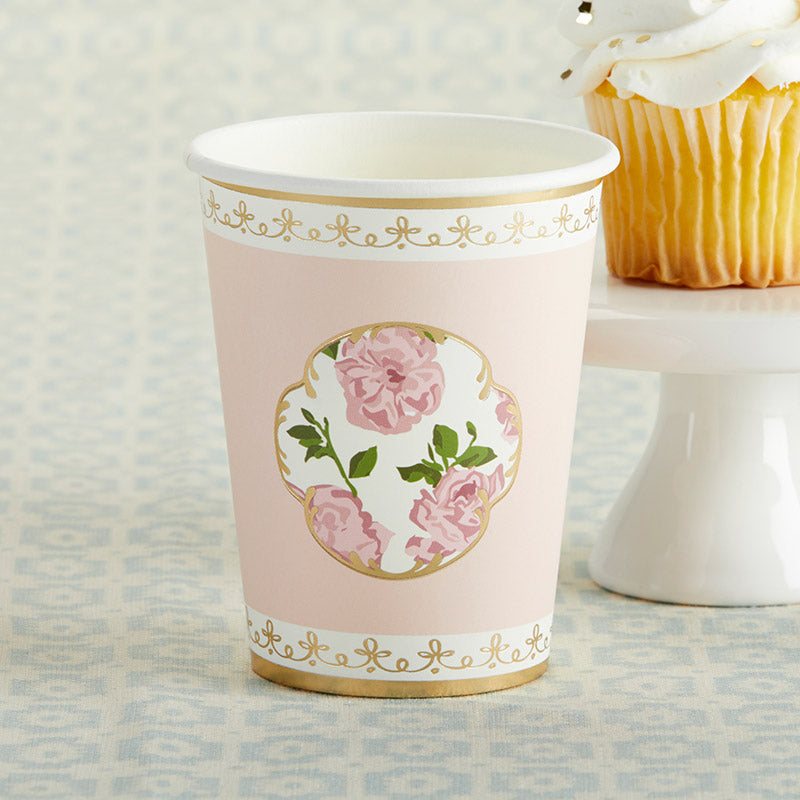 Load image into Gallery viewer, Tea Time Whimsy 8 oz. Paper Cups - Pink (Set of 8)