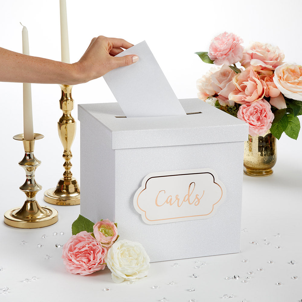 White Glitter Card Box