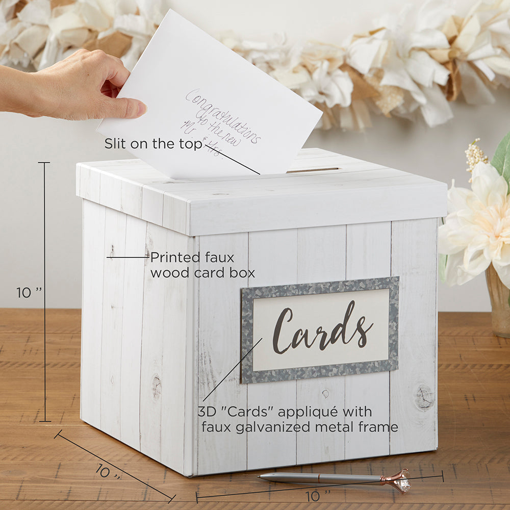 Appropriate Cash Gift For Wedding: Rustic Wood Collapsible Card Box