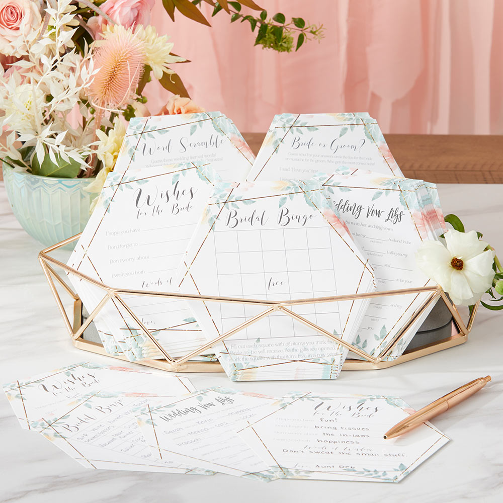 Geometric Floral Bridal Shower 5-Pack Game Card Set (30 sheets each)