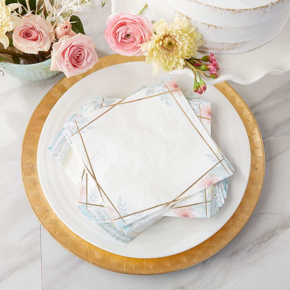 Geometric Floral Paper Napkins (Set of 30)