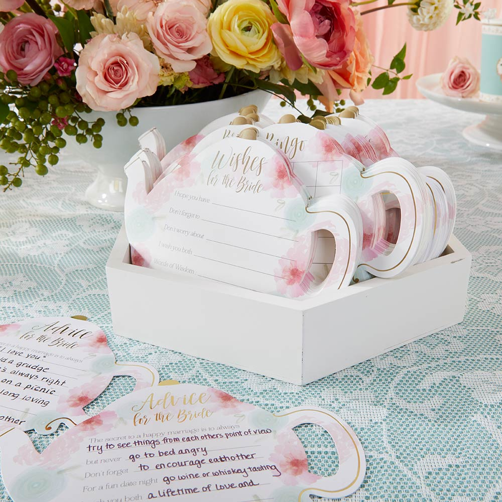 Floral Wedding Advice Card - Teapot Shape (Set of 50)