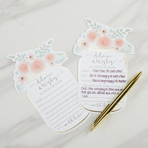 Load image into Gallery viewer, Floral Wedding Advice Card - Mason Jar (Set of 50)