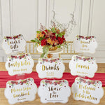 Burgundy Blush Floral Party Décor Sign Kit (Set of 8)