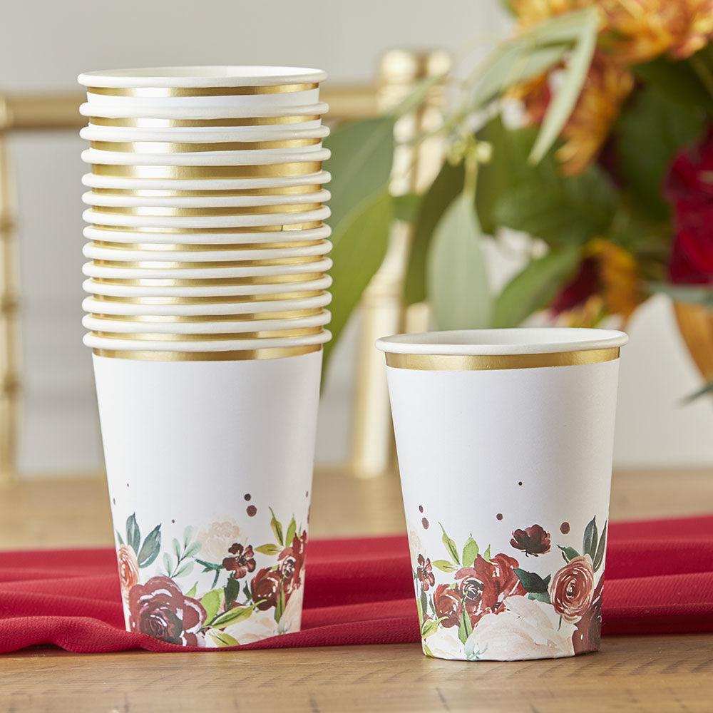 Load image into Gallery viewer, Burgundy Blush Floral 8 oz. Paper Cups (Set of 16)
