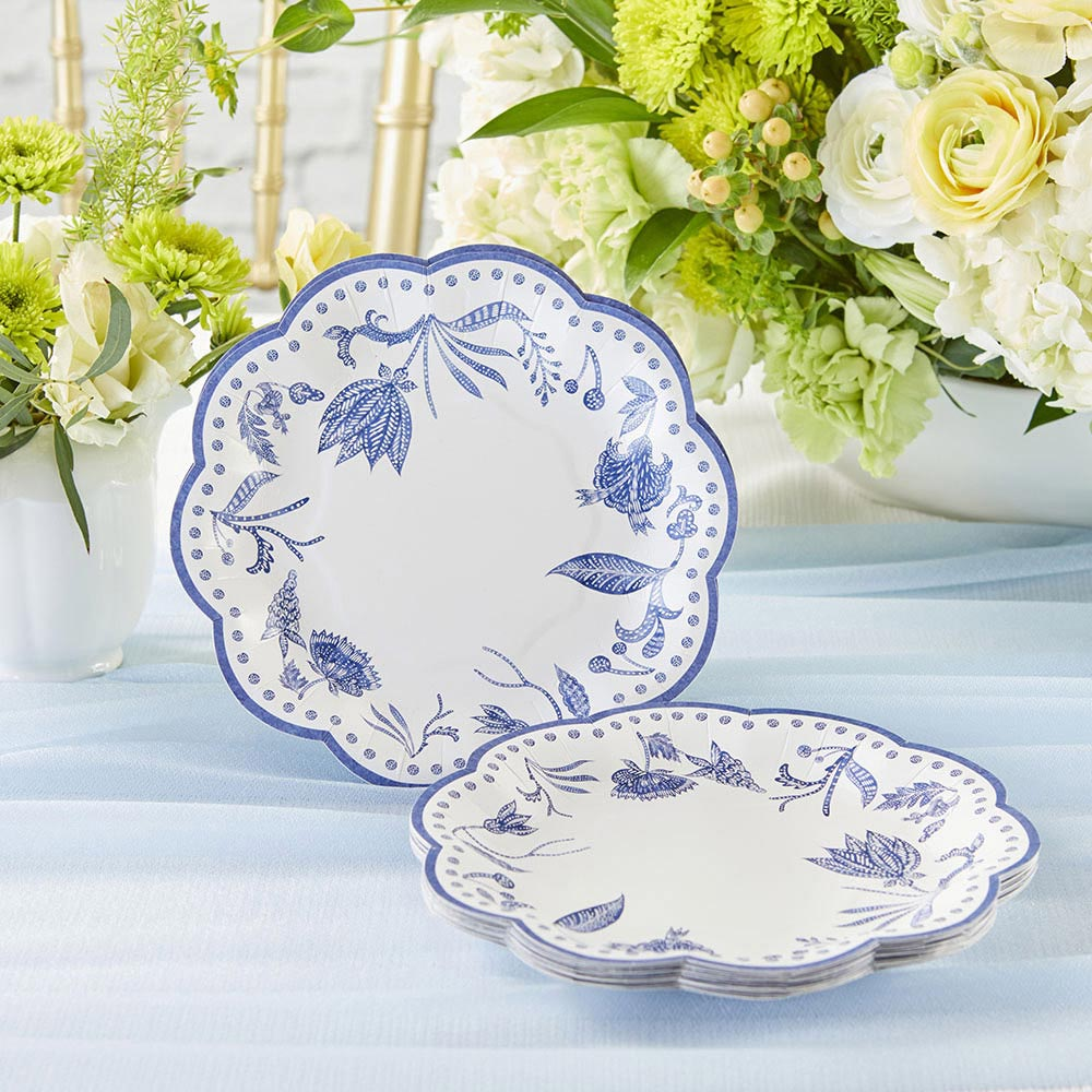 Blue Willow 7 in. Premium Paper Plates (Set of 16)