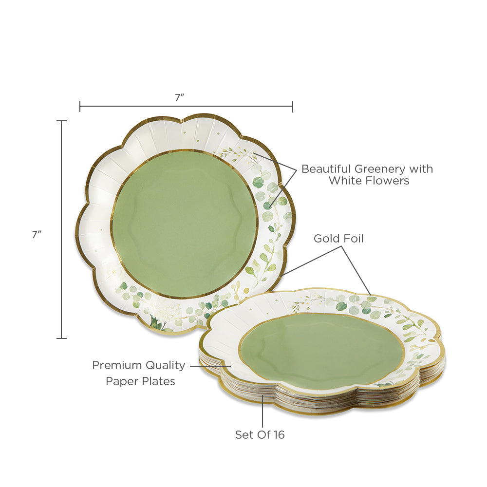 Botanical Garden 7 in. Premium Paper Plates (Set of 16)
