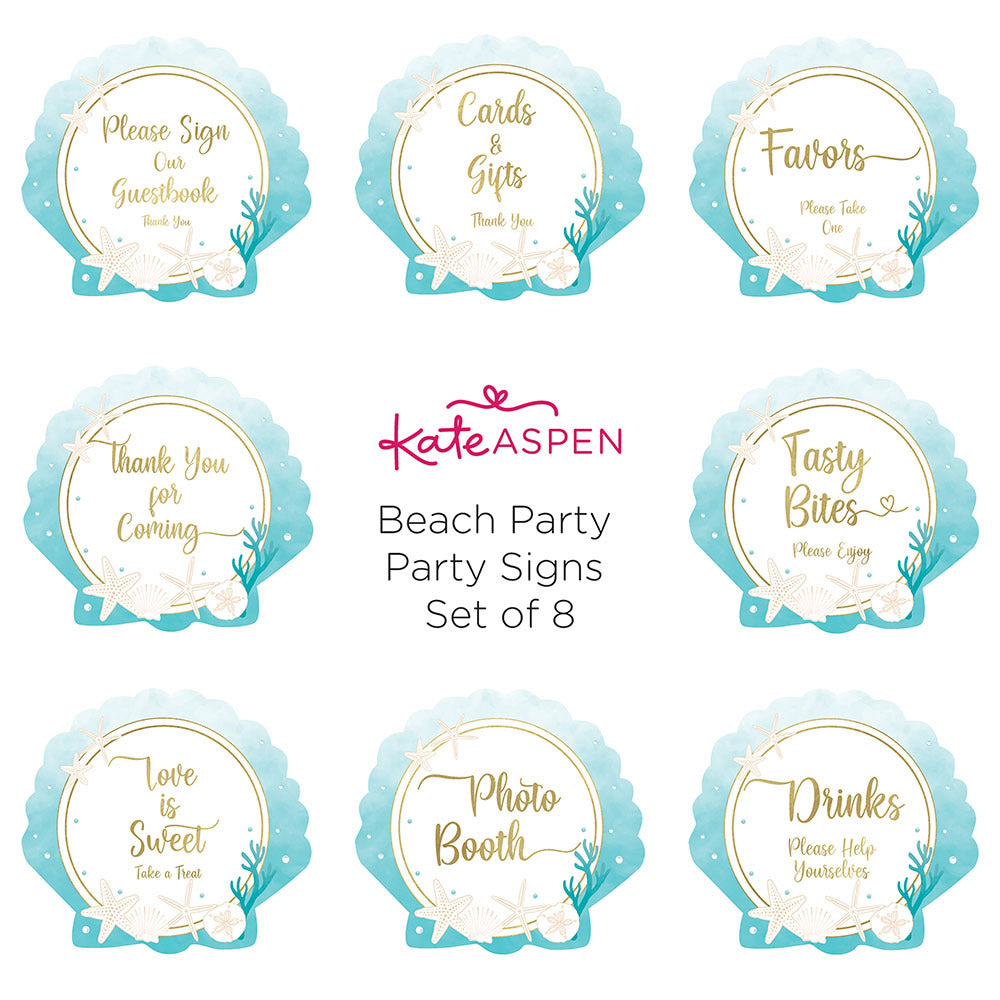 Load image into Gallery viewer, Beach Party Décor Sign Kit (Set of 8)