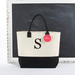 Classic Black And White Monogrammed Initial Tote Bag