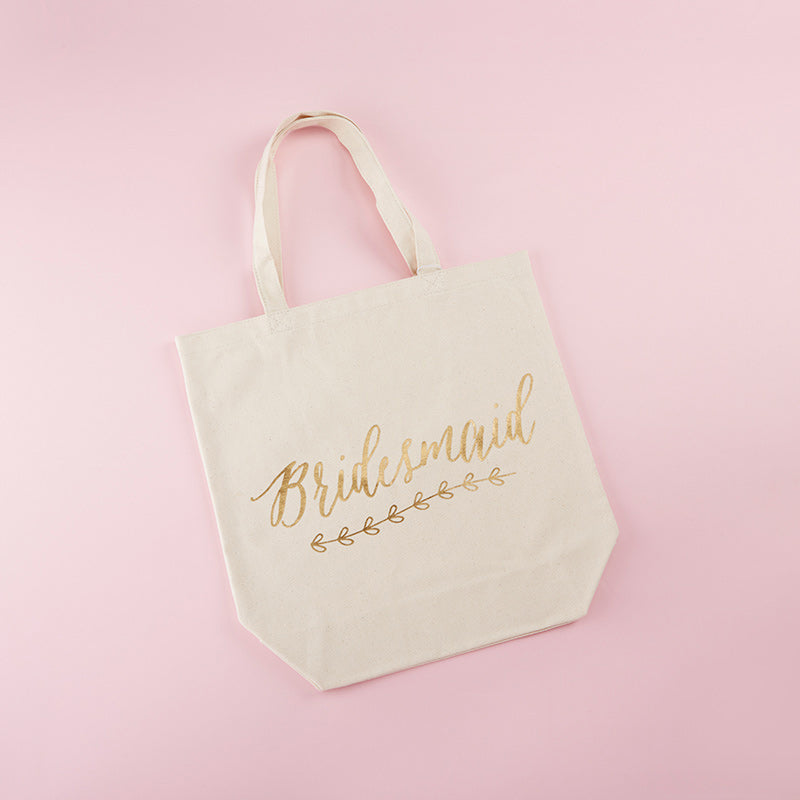 Gold Foil Bridesmaid Canvas Tote (Personalization Available)
