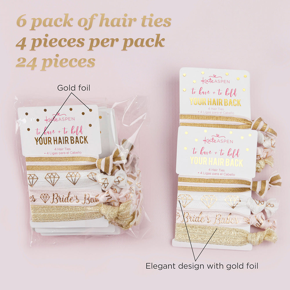 To Have & To Hold Your Hair Back Bridal Party Hair Ties (6 packs of 4)