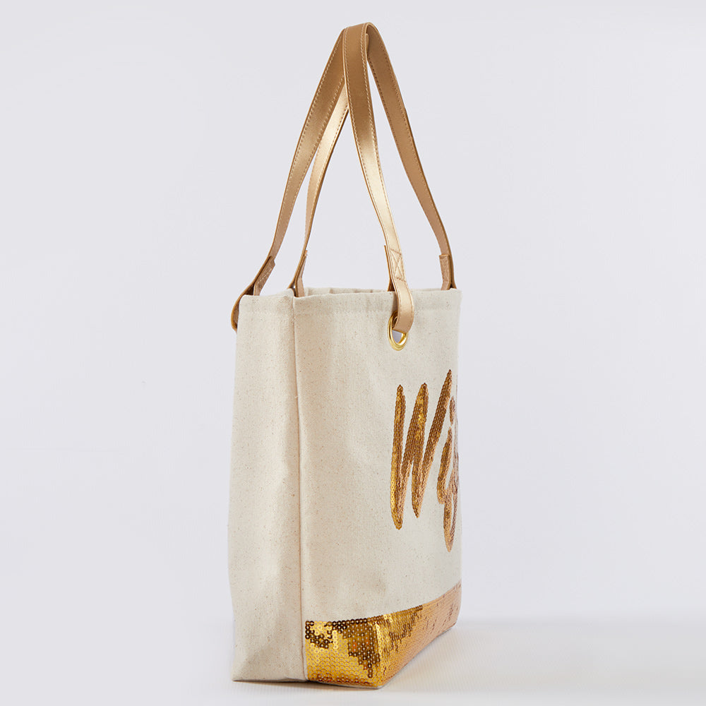 Sequin Wifey Canvas Tote