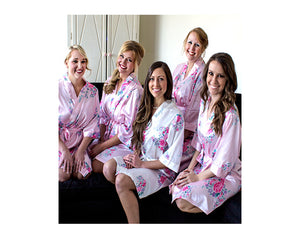 Personalized Floral Satin Spa Robe - Red