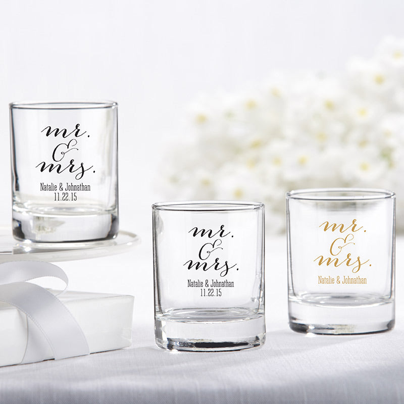 Personalized Mr. & Mrs. 2 oz. Shot Glass/Votive Holder