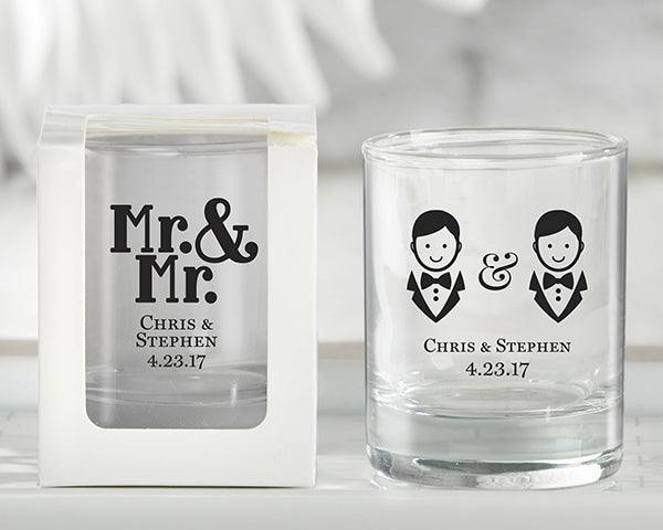 Personalized Mr. &  Mr. 2 oz. Shot Glass/Votive Holder