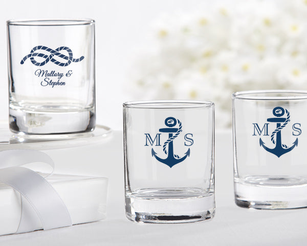 Personalized Nautical Wedding 2 oz. Shot Glass/Votive Holder