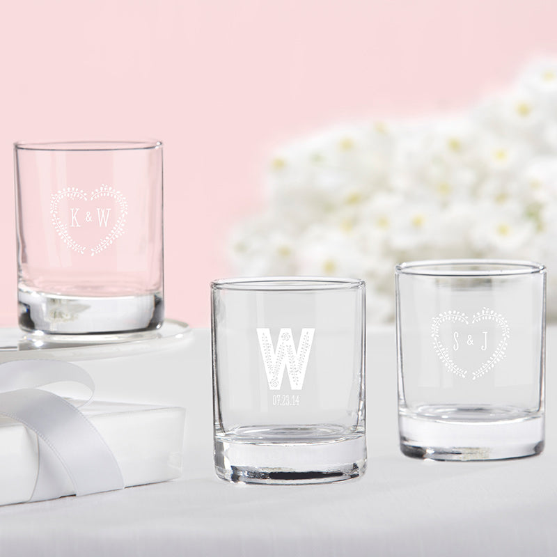 Personalized Rustic Wedding 2 oz. Shot Glass/Votive Holder