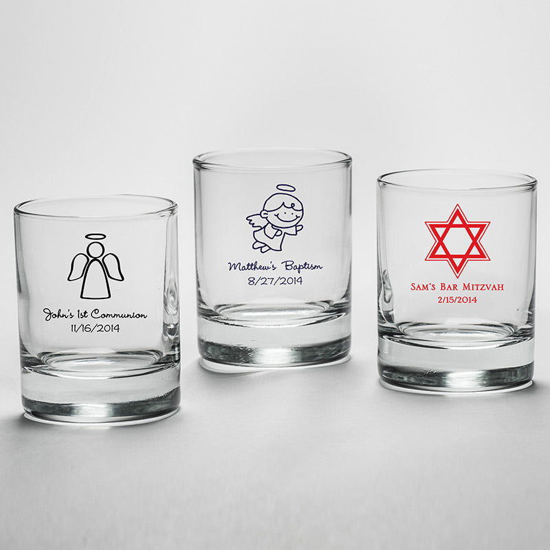 Personalized Religious Shot Glass/ Votive Holder