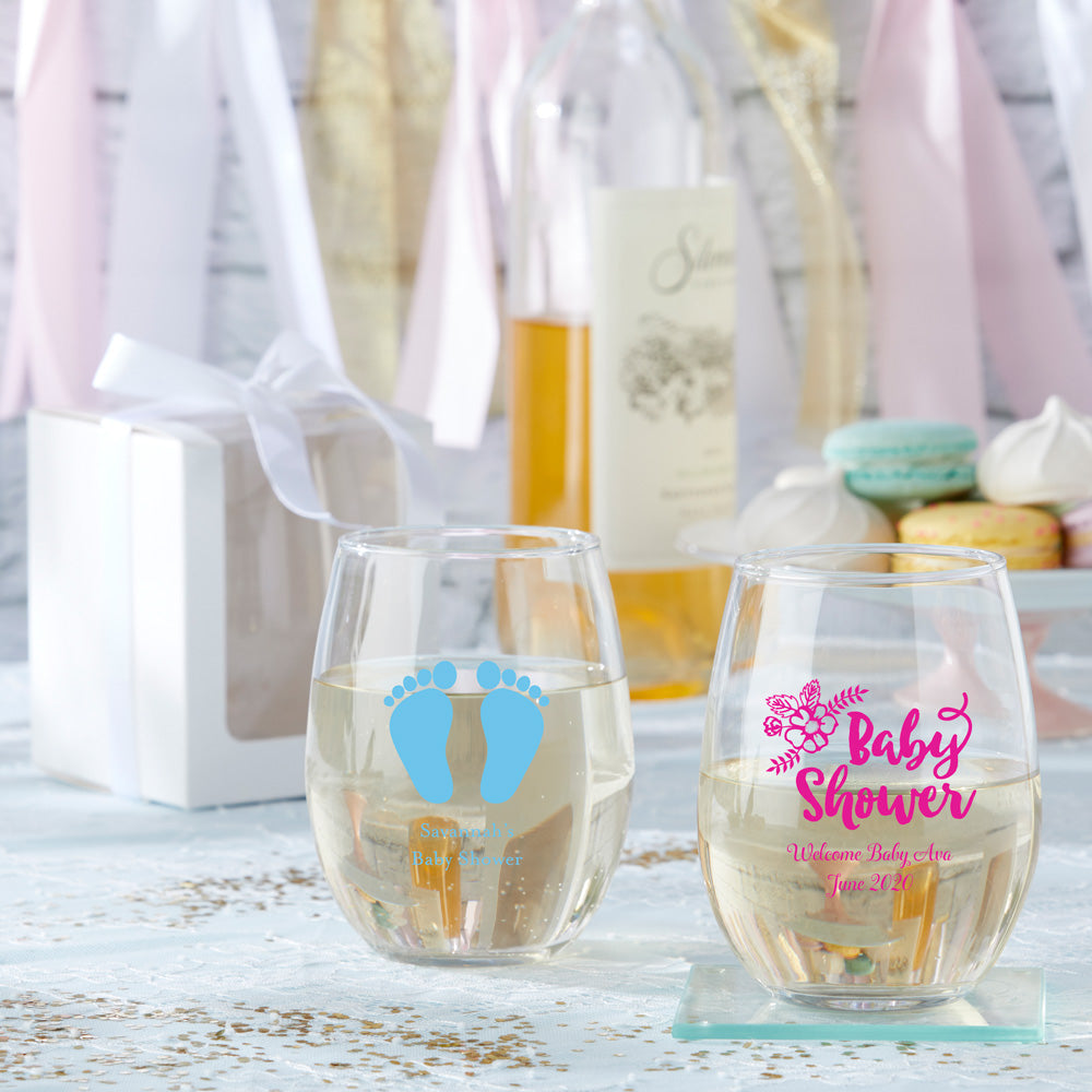 Personalized Baby  9 oz. Stemless Wine Glasses (Gift Box Available)