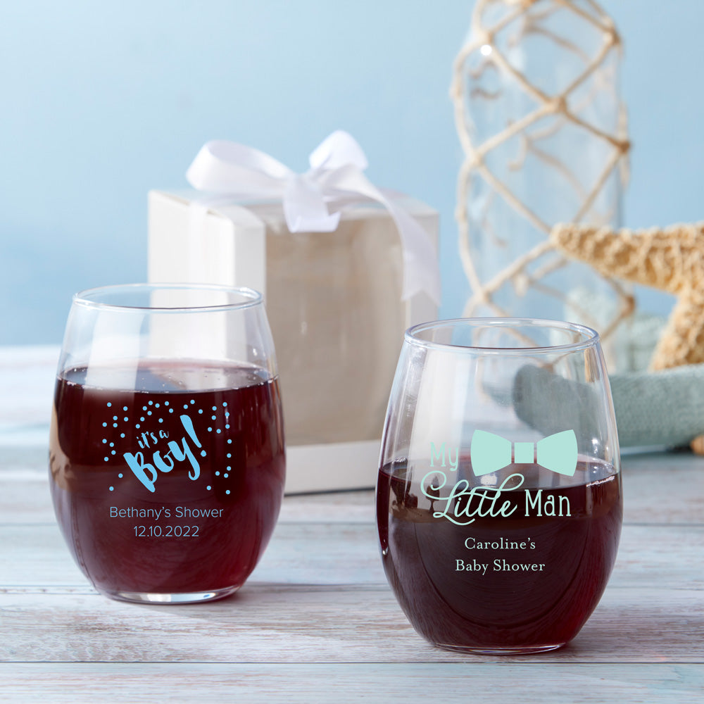 Personalized Baby Shower  9 oz. Stemless Wine Glasses (Gift Box Available)